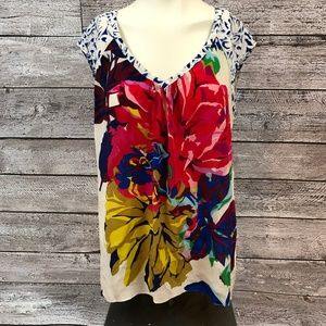 Anthropologie Maeve Floral Silk Blouse, Size 8